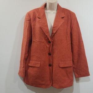 Talbots petites women's orange 100% wool blazer